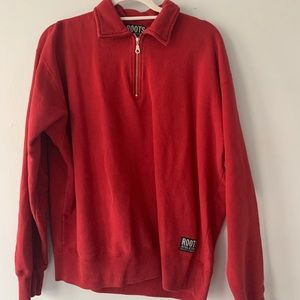 Roots athletics Red Polo Sweater Size Small